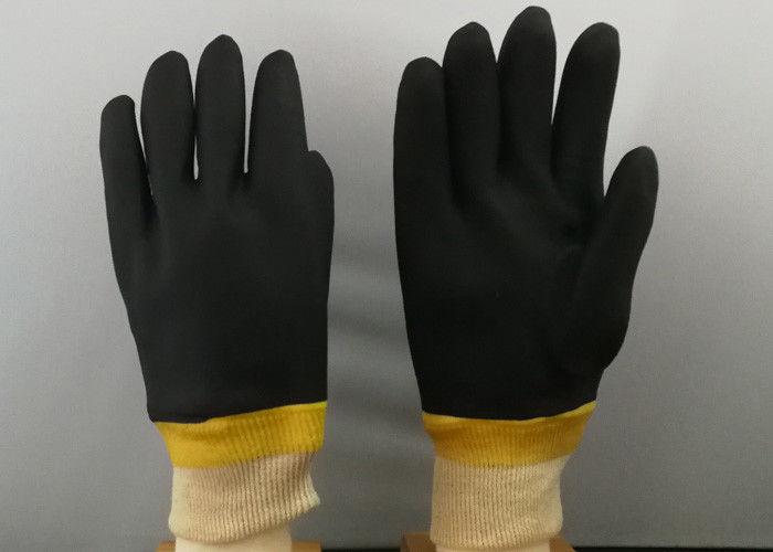 La flanella di cotone composita della spugna di colore dei guanti rivestiti  neri del PVC con tricotta il polsino del polso 9a46ddf6d590