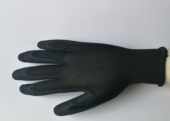 Seamless Design Black Nitrile Gloves , Nitrile Palm Coated Gloves For Precision Assembly Work